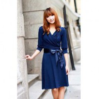 Fahionable A-Line Deep V-Neckline Short Dress--Women's Dresses China Wholesale - Sammydress.com