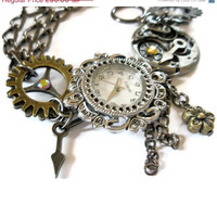 On Sale 25% off Bracelet Steampunk Watch jewelry cogs hands gears charms Swarovski crystal Jewellery made to order