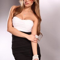 White Black Strapless Sweetheart Neckline Pleated Slit Back Sexy Dress @ Amiclubwear sexy dresses,sexy dress,prom dress,summer dress,spring dress,prom gowns,teens dresses,sexy party wear,women's cocktail dresses,ball dresses,sun dresses,trendy dresses,swe