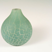 Crackle Glass Vase Home Decor Stone Southwest Tribal Minimal Minimalist Ocean Blue Green