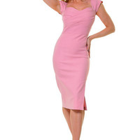 1940&#x27;s Style Stop Staring Pink MAD MEN Wiggle Dress - Unique Vintage - Cocktail, Evening  Pinup Dresses