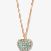 Bejeweled Heart Chain Necklace