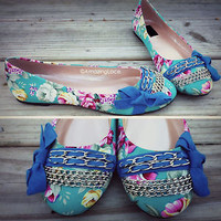 Pretty Mint Floral Ballet Flat Sandals Bow Tie Chains Blue Green Flower Shoe