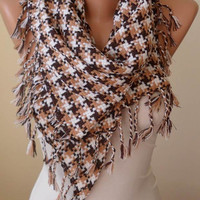 Triangular Scarf - Beige and White Houndstooth Scarf - Thick Cotton Fabric