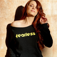 Fearless- Black Yellow Sexy Off the Shoulder Sweatshirt