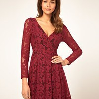 ASOS | ASOS Lace Wrap Dress with Long Sleeves at ASOS