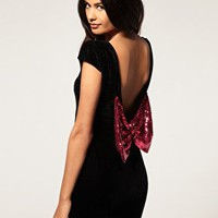 Paprika | Paprika Velvet Dress With Sequin Bow at ASOS