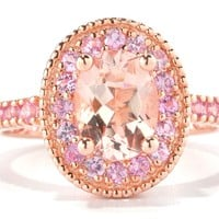 European Engagement Ring - Oval Morganite Pink Sapphire Halo 14K Rose Gold Ring - ER269OVRG