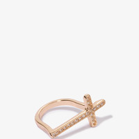 Rhinestoned Cross Bar Ring