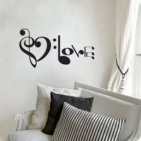 Music Notes Spelling Love Wall Decal Vinyl Art Sticker 10.5&quot;h X 20&quot;w