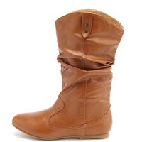 Slouchy Pleather Western Boot: Charlotte Russe