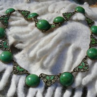 Vintage Deco Green Enamel Necklace