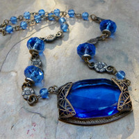 Bohemian Vintage Cobalt Blue Deco Necklace, Winter Fashion