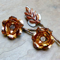 Vintage Winter Bridal Gold Rose Bobby Pins, (Set of 3)