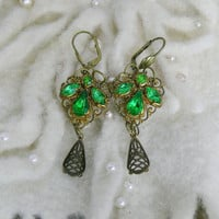 Vintage Czech Emerald Green Filigree Earrings, Bohemian Upcycled OOAK