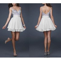 Amazon.com: Cute Silver Sequins and White Chiffon Short Bridesmaids' Cocktail Ball Evening /Engagement /Graduation/Birthday Party Dress: Everything Else