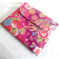 Gorgeous iPad Sleeve/Gift For Her iPad Case/Handmade iPad Cover Flap Closure Kimono pattern fabric flowers purple