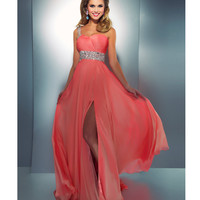 Mac Duggal Prom 2013- Coral Gown With Embellished Waist And One Shoulder - Unique Vintage - Cocktail, Pinup, Holiday & Prom Dresses.