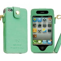 Iphone 4/5 Leather Case (good Quality)  green,iphone 4s leather case
