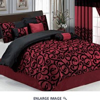 7Pcs Queen Burgundy and Black Scroll Comforter Set