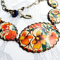 autumnal vintage tin and brass necklace by littleblackrabbit