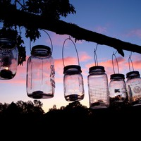 Set of 6 Mason Jar Hanging Tea Light Lantern / Luminaries
