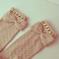 Studded Crochet Boot Socks