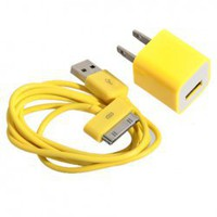 Mini 2 in 1 Charger Kit (US Standard USB Power Apdater + USB Cable) for iPhone 4/4S/3GS/3G (Yellow) China Wholesale - Everbuying.com