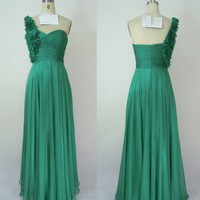 One Shoulder Sweetheart with Flowers Green Chiffon Long Prom Dress Evening Gown, Party Dress
