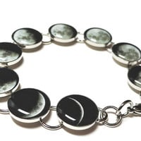 Phases Of The Moon Silver Plated Resin Charm Link Bracelet