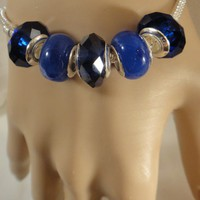 Diamont-Cut Shape Blue Bead for European Bracelet