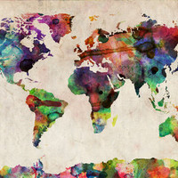 World Map Urban Watercolor Art Print by ArtPause | Society6