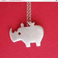10 SALE BLACK FRIDAY Rhino with tiny friend pendant by zoozjewelry