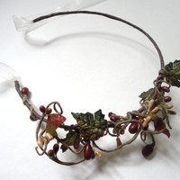 Red and Green Hair Wreath, Holiday Accessory