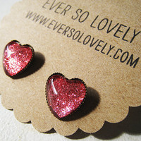 ruby red heart earrings - metallic nickel free post earrings - summer love and shooting stars