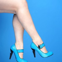 Electric Mary Jane Pumps in Turquoise | Pinup Girl Clothing