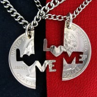 Love Me Interlocking Quarter hand cut coin by NameCoins on Etsy