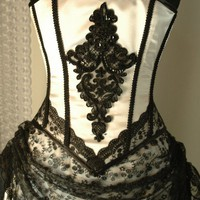 Custom made white and black corset gown by BoundByObsession