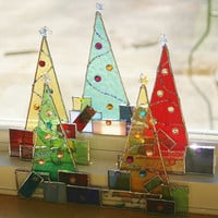 Stained Glass Christmas Tree w/ Presents Suncatcher by GaleazGlass