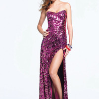 Fuchsia Sequin Strapless Open Back Prom Dress
