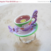 Black Friday Sale Teacup And Saucer Ring  Butterfly by CuteAbility