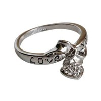 Amazon.com: Fashion Plaza 18k White Gold Plated Use Swarovski Crystal Love You Heart Ring R33 Size 8: Jewelry