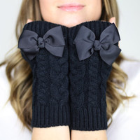 fingerless mittens, fingerless knit gloves with bow, black knit gloves, OTHER COLORS, bow gloves, knit bow gloves