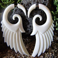 Fake Gauge Earrings, Natural White Craved Bone Angel Wings ,Split Gauge Feather