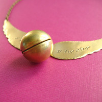 Harry Potter Snitch Necklace Locket Golden by SpiffingJewelry