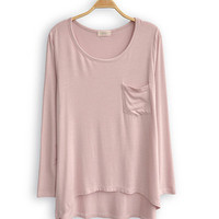 Pink loose pocketed dip hem t-shirt