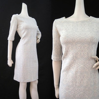 60s Dress Vintage Textured Lurex Knit Wiggle Cocktail Party M L