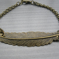 Both retail and wholesale antique bronze retro style long leaf bracelet
