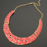 Fashion Golden Oval Teardrop Peach Resin Bead Crystal Curve Pendant Bib Necklace