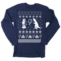 Mens Ugly Christmas Sweater Geeky Long Sleeve T by happyfamily
